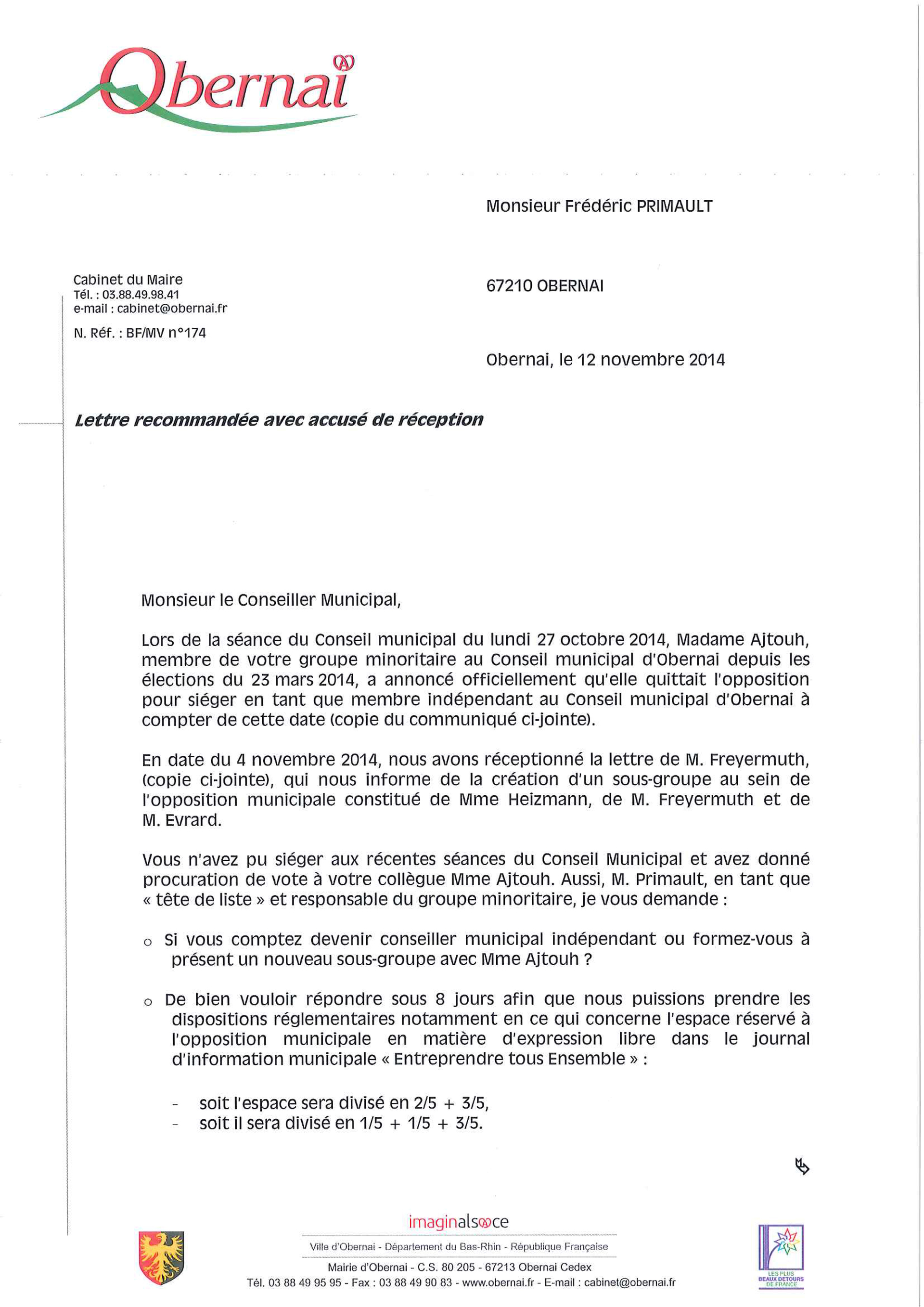 LETTRE FREDERIC PRIMAULT 12.11.2014